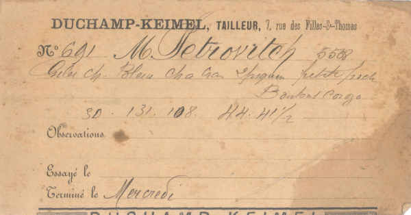 The slip to Petrović's name, for having a suit made at the tailors' in Paris, around 1890–1894. (Adligat Society