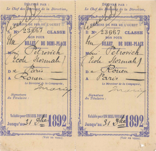A Paris-Rouen ticket, with Petrović's name, 1892. (Adligat Society)