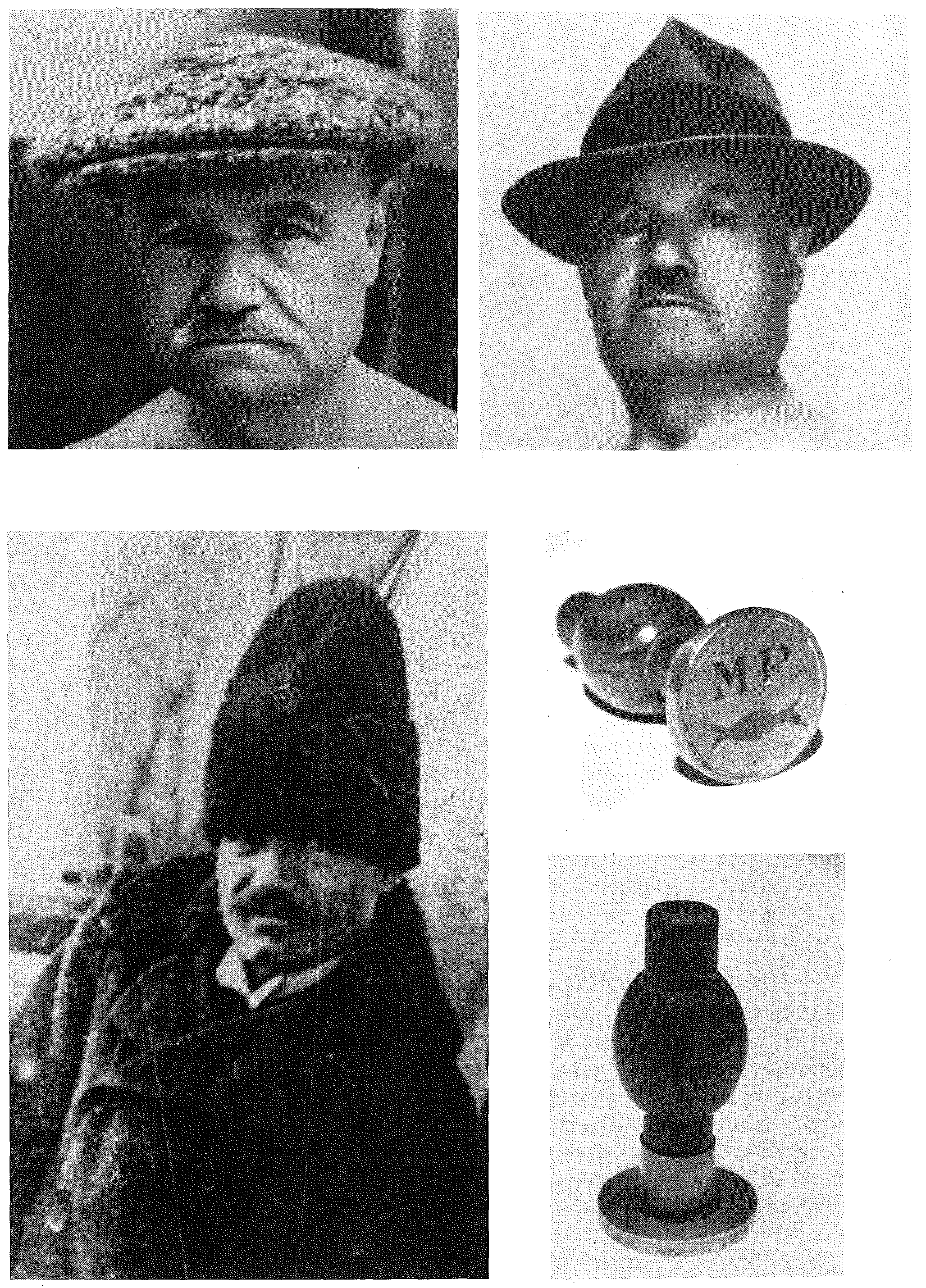 "Three faces of Mihailo Petrović as a fishery master on the Sava and the Danube rivers. Petrović maintained an extensive correspondence with the world. He used his own seal to secure a postal package or an envelope. His stamp depicts a ""fish eating a fish"" with MP initials, hardly a coincidence (the stamp was made in Paris, of silver and yew tree wood, Taxus baccata, in 1898). (Collected Works, Book 14) (Digital Legacy of Mihailo Petrović)"