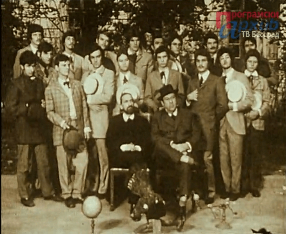 A shot from a movie Professor Kosta Vujić's Hat, 1971, Vladimir Andrić, Graduates of Professor Kosta Vujić in the First Belgrade Gymnasium. (Source: Program Archives of Television Belgrade)