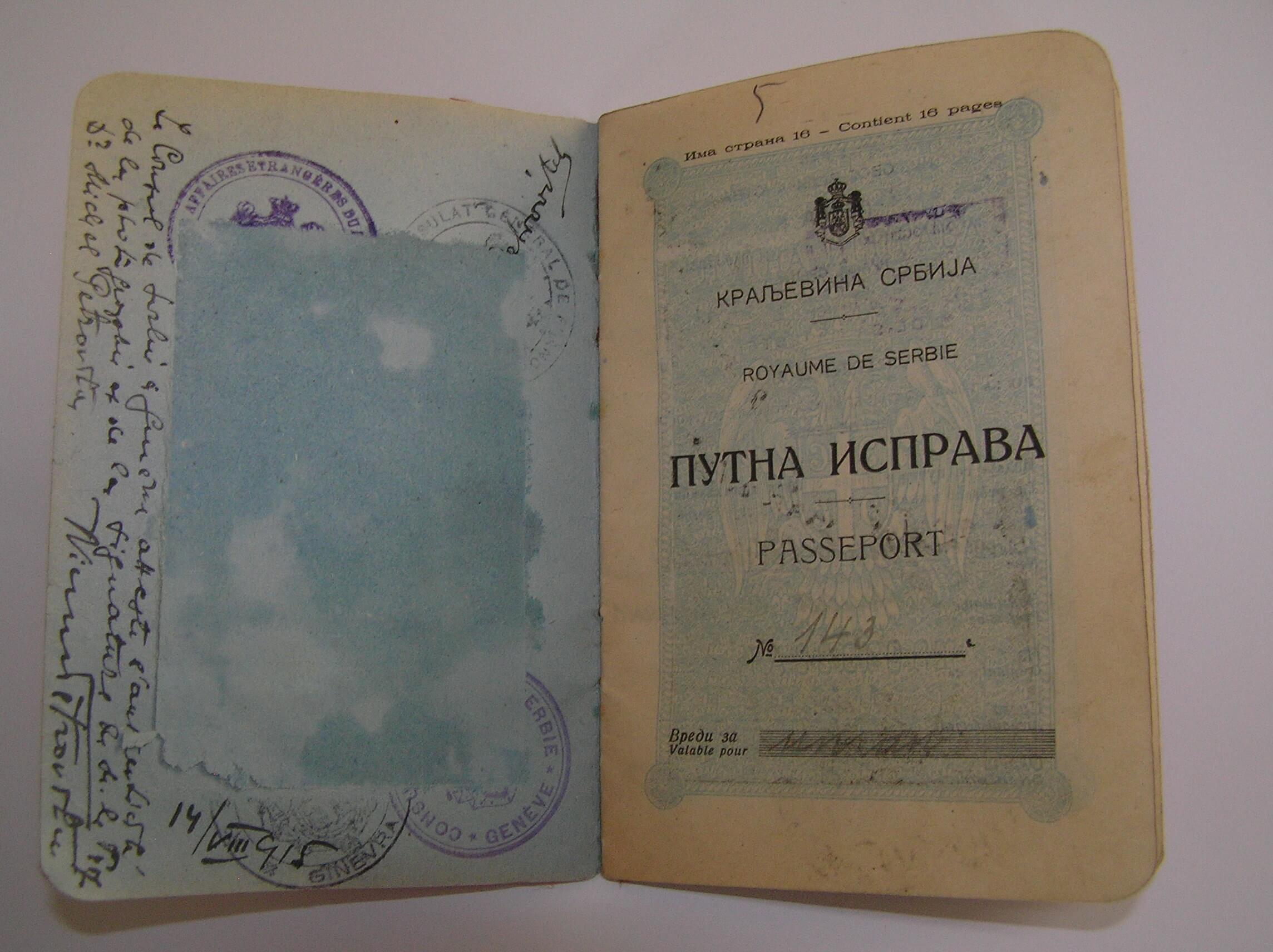 """Mihailo Petrović's passport. I. Marković, 2018 (""""Mihailo Petrović"""" Foundation)"""