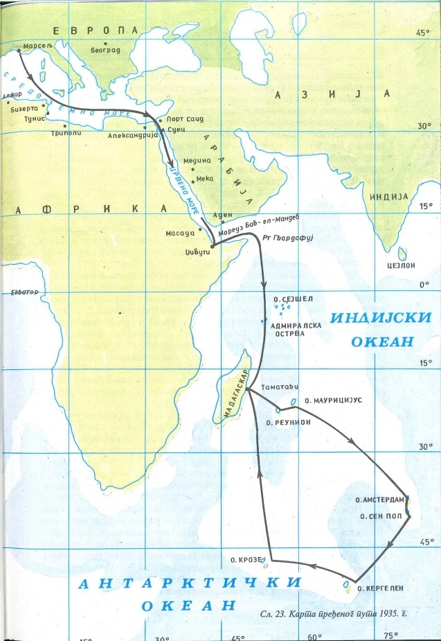 Mapping of the route traveled from the French coast to Madagascar in 1935.